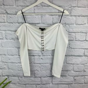 Forever 21 White Off-The-Shoulder Cropped Top Sz S